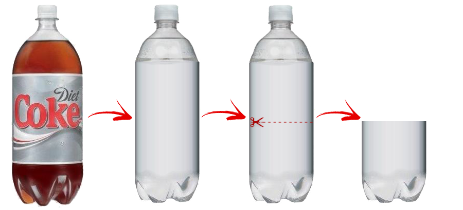 How to Build a Mentos and Diet Coke Roket - Cut empty Diet Coke bottle in half