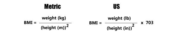 BMI formula - BMI Metric formula | BMI US formula