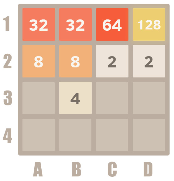 How to play 2048 - Example 32 merge
