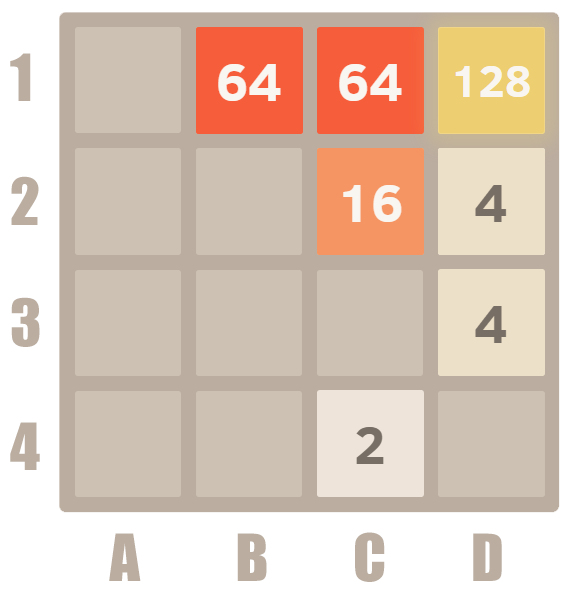 How to play 2048 - merge 64