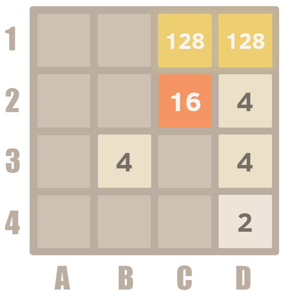 How to play 2048 - merge 128